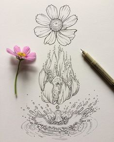 Sketch Set is the highest quality art supplies with all the tools you need to create your own masterpiece. Ink Pen Art, Marker Art, Metamorphosis Tattoo, Pencil Drawings, Art Drawings, Flower Art Drawing, Drawing Ideas, Pigma Micron, Watercolor Images