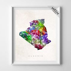 Algeria Watercolor Map Print. Prices from $9.95. Available at www.InkistPrints.com #Algeria #Watercolor