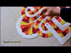 Diwali rangoli design using fork l navratri special rangoli designs with colours l रंगोली रचना l new Rangoli Designs Latest, Latest Rangoli, Rangoli Designs Flower, Rangoli Border Designs, Rangoli Designs Diwali, Rangoli Designs With Dots, Beautiful Rangoli Designs, Easy Rangoli Patterns, Rangoli Colours