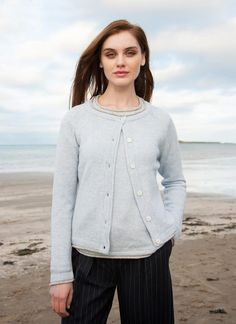Wool Cashmere Killiney Cardigan: The Killineycardiganis aclassic and versatile piece,carefullycrafted in Dublin from a natural wool and cashmere blend.Featuringflecked wool yarns,thiscardiganreflectsthe colors of Irish landscapes and seascapes. #cardigan #sweater #knitwear #knit #cozyknits #irish #IrishDesign #IrelandsEye #aran #fashion #style #heritage #countrystyle #wool #cableknit #winteroutfits #womenswear #fallfashion