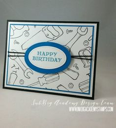 Stampin'Up! Nailed It bundle, masculine card, happy birthday, technique, tutorial, 5 way friday #lisapretto #inkbigacademystamps