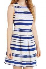 ROMWE Striped Pleated Sleeveless Lined Blue Dress