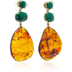 One-Of-A-Kind Amber Earrings | Moda Operandi (201,185 INR) ❤ liked on Polyvore featuring jewelry, earrings, amber earrings, amber jewellery, asymmetrical jewelry, earring jewelry and statement earrings