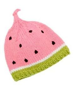 Watermelon Hat FREE knitting pattern in Spud & Chloe. So cute for the summer! Get the FREE knitting pattern downloadable PDF for this children's hat from LoveKnitting.