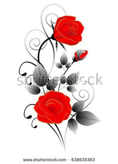 Composition of red roses, illustration, isolated on white background.