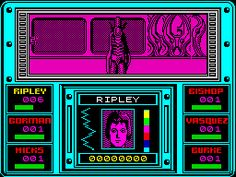 Aliens (1986) - Based on the movie... and that's about it. Take control of 6 characters from the movie, move them around a massive colony base, blasting aliens. This game had many faults e.g. you ran out of ammo very quickly, and the only way to refill was in a room right near the start. Also, if you didn't clear the walls of bio-mechanical growth (with your gun, of course), it eventually causes all the lights to go out... totally. Despite that, still a very atmospheric and creepy game.