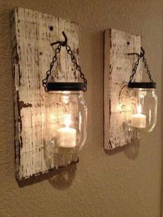 Love these...except I would use electric candles, and put rice/beans/stones in the bottom Farmhouse Wall Decor, Candle Sconces, Wall Lights, Appliques, Candle Wall Sconces, Wall Mounted Lamps
