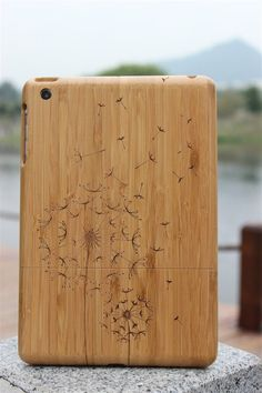 Natural wood ipad mini case , Engraved ipad mini case ,wooden ipad mini case, dandelion bamboo ipad mini, wood.