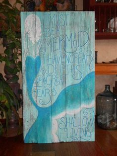 Mermaid Sign/ Painting 4 foot tallNEW COLOR Hand painted