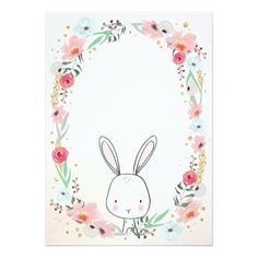 Little Bunny Baby Shower invitation Floral Girl Bunny Birthday, 1st Birthday Parties, Floral Invitation, Invitations, Shower Invitation, Bunny Party, Baby Shower Invitaciones, Baby Kind, Flower Frame
