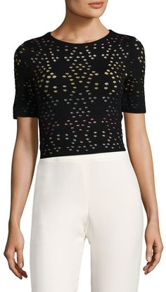Alice+olivia Woman Ines Cropped Open-knit Top Multicolor Size L Alice & Olivia Cheap Visit New Cheap Outlet Locations Cheapest Cheap Online 0cpCAZx
