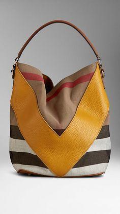 Medium Leather Chevron Canvas Check Hobo Bag   Burberry