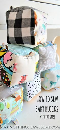 How to Sew Baby Blocks With Taggies! – Making Things is Awesome – hacks baby diy Baby Toys, Baby Kind, Sew Baby, Toys For Babies, Baby Fabric, Babies Stuff, Sewing Patterns Free, Free Sewing, Baby Sewing