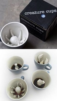 Funny pictures about Creature cups lurk beneath your beverage. Oh, and cool pics about Creature cups lurk beneath your beverage. Also, Creature cups lurk beneath your beverage. Coffee Cups, Tea Cups, Deco Originale, Cool Mugs, Cool Inventions, Cool Gadgets, Tea Set, Tea Party, Cool Things To Buy