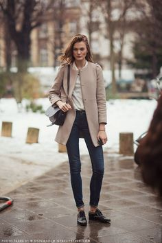 {Camel Structured Coat + Silk Blouse + Jeans + Oxfords}, Great colors.