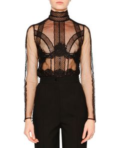 Tulle Long-Sleeve Sheer Blouse, Black by Dolce & Gabbana at Neiman Marcus.