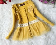 cute kids' coat: Flower Decorated Super Lovely Coat Yellow