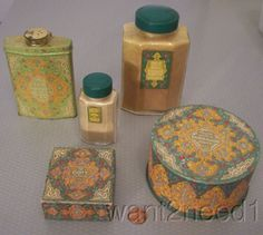 20s/30s vtg antique COTY EMERAUDE 5 PC SET talc tin 2 bottles dusting powder box | eBay