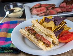 BBQ Steak covered with melted cheese and more in these amazing sandwiches perfect for tailgating or any party; #SummerSoiree; Cheesy Grilled Steak Sandwiches; 2015 Jane Bonacci, The Heritage Cook