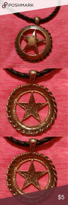 Silver tone Lone Star necklace on braided black le This Lone Star hangs on a nice black braided leather strap. Had to have it, never wore it!  Will you? I have a bracelet that can go with it perfectly. Jewelry Necklaces