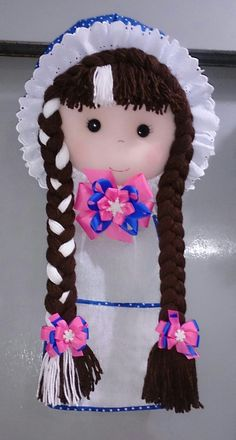 Toilet roll holder hanging shelf Textile Doll Toilet tissue holder Bathroom organiser Toilet paper H Diy And Crafts, Crafts For Kids, Arts And Crafts, Crochet Waffle Stitch, Holiday Program, Cute Love Memes, Crochet Flower Patterns, Lace Bows, Craft Organization