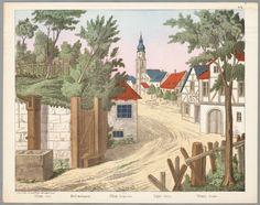 Bouwplaat in kleur van een papieren theater voorstellende een achtergrond met een dorpstafreel