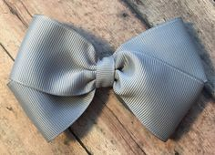 Gray Bow on Metal Clip Elastic Headband or Hair by MissBeesBows