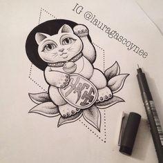 20 Ideas tattoo cat traditional maneki neko for 2019 Wolf Tattoos, Feather Tattoos, New Tattoos, Tattoos For Guys, Maneki Neko, Lucky Cat Tattoo, Tattoo Cat, Blackwork, Cat Tattoo Designs