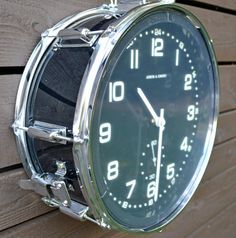 Repurposed Black Snare Drum Clock by TimeBeats on Etsy