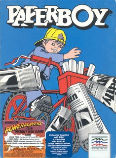 Original big box artwork for the iconic game Paperboy on the IBM PC originally developed by Atari and ported by Mindscape Games from 1987 Geek Games, Games Box, Pc Engine, Instant Win Games, Vintage Metal Signs, School Games, Love Games, Retro Look, Box Art