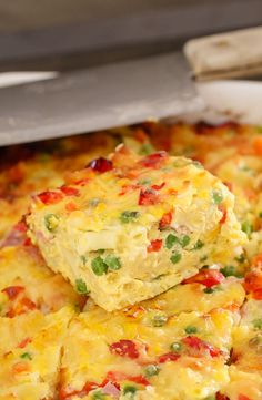 recipes Cheesy Macaroni & Vegetable Frittata Bake A simple Macaroni & Vegetable Frittata Bake made with capsicum, carrots, corn, peas and ham. Perfect for kids and toddlers, or as an easy midweek dinner.