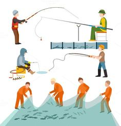 Fishing fishermen people vector. Sport Icons. $5.00