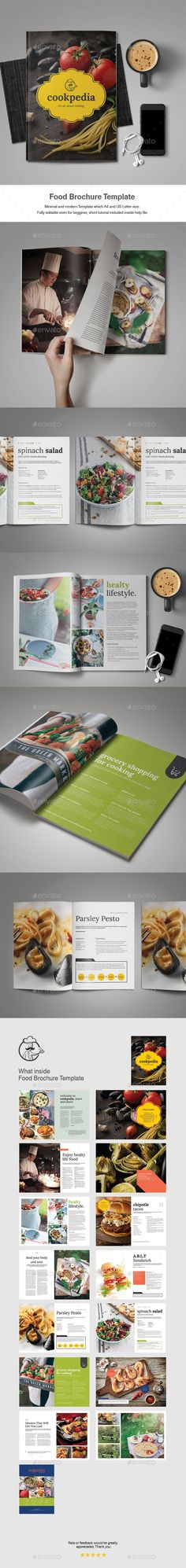Food Brochure Design Template - Catalogs Brochures Design Template InDesign INDD. Download here: https://graphicriver.net/item/food-brochure-template/18997542?ref=yinkira