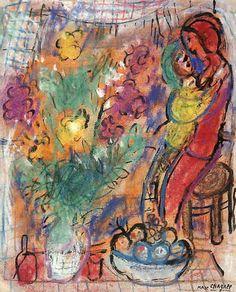 Marc Chagall - Le Couple aux Fleurs 1950.aquarelle(mélangé) sur papier