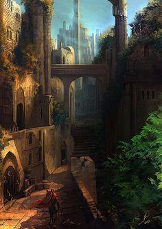 Escenarios Fantasticos, Humano En, Mundos, Pinturas, Paisaje De Fantasía, Fantasía Artística, Paisajes Arte De La Fantasía, De Ciencia Ficción De La