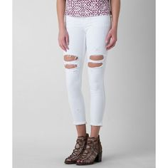 Flying Monkey Skinny Stretch Cropped Jean ($40) ❤ liked on Polyvore featuring jeans, white, white distressed skinny jeans, super skinny jeans, low rise skinny jeans, white distressed jeans and ripped skinny jeans