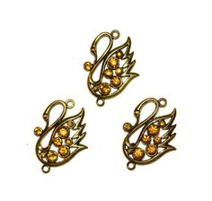 Swan Pendants Links Antique Gold Amber by BlingThingsOriginals