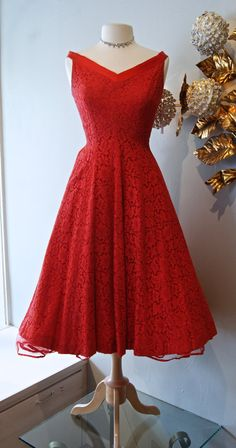 1950s Dress / Vintage 50's Red Cotton Lace Party by xtabayvintage, $148.00