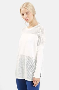 Topshop Paneled Pointelle Sweater available at #Nordstrom