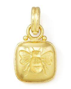19k Cushion Gold Bee Pendant