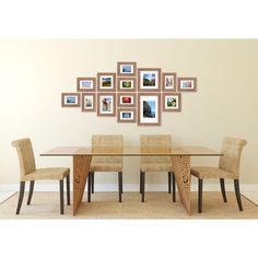Fotolijsten muur bestaande uit 14 fotolijsten. Compleet met ophangtemplate voor een strak resultaat. Kleur: lichtbruin