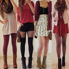 How to style: Burgundy/Red for Fall! Which one is your fave? 1,2,3,4? Comment below  - @rinasenorita- #webstagram