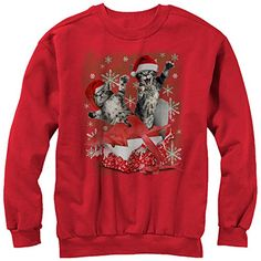 Lost Gods Christmas Santa Claus Party Time Mens Graphic Sweatshirt - Fifth Sun, Men's, Size: XXL, Green Christmas Cats, Christmas Shirts, Ugly Christmas Sweater, Cat Sweatshirt, Graphic Sweatshirt, T Shirt Company, Red Media, Ugly Sweater, Fitness Fashion
