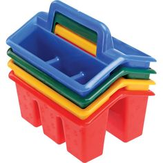 Storage: pick up and go! Four-Compartment Caddies - Primary Colors, pastels and limes/greens from Really Good Stuff
