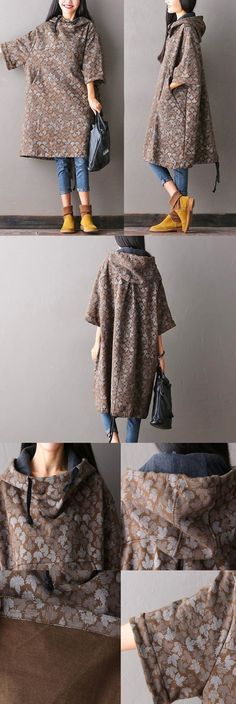 BUYKUD-Women large autumn hooded coat,made of cotton .Hand wash cold water… BUYKUD-Women large autumn hooded coat,made of cotton .buykud dresses - My Accessories World Japan Fashion, Look Fashion, Winter Fashion, Womens Fashion, Fashion Design, Modest Fashion, Hijab Fashion, Nigerian Fashion, African Fashion