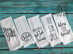 Rae Dunn Inspired Kitchen Towel - Flour Sack Towel - Tea Towel - Southern Sayings by SouthernDunn on Etsy https://www.etsy.com/listing/522097645/rae-dunn-inspired-kitchen-towel-flour
