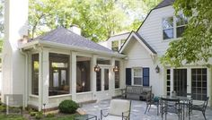Screened porch addition with beadboard exterior (lower portion). - Picmia