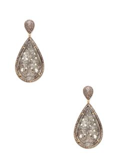Diamond & Carved Rutilated Quartz Double Teardrop Earrings by Karma Jewels at Gilt