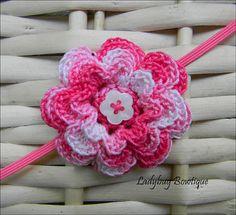 Girls Crochet Flower Skinny Elastic Headband Pink by LadybugBowtique