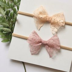 $7 Apricot and Mauve Lace Bow Headband, nylon band or clip, baby, newborn, infant, preemie, one size fits most, toddler, baby bows, baby shower, birthday girl favor, girl birthday, stretchy headband, ever iris, ever iris designs, everirisdesigns, christening, wedding, baptism, blessing day, its a girl, its a girl, etsy, for girls, boutique, nylon band, shop small saturday, Christmas gift for girls, stocking stuffer for girls, present, petite, accessories, fabric bow, handmade